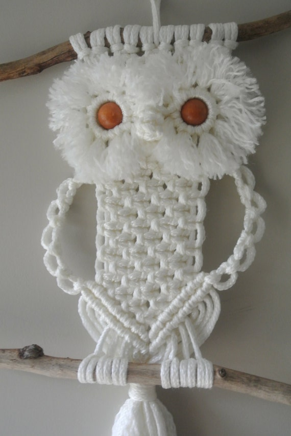 Macrame Owl Off White Wallhanging Decoration By