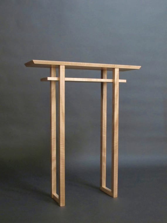 Narrow altar table tall console table small side table wood for Tall console table