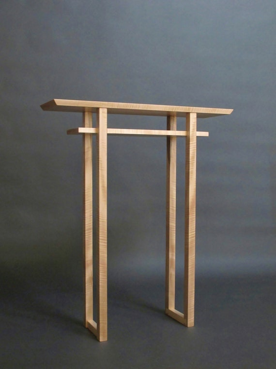 Narrow altar table tall console table small side table wood for Tall slim side table