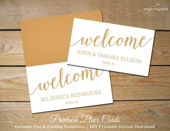 Bella Script Wedding Place Cards Gold Printable By
