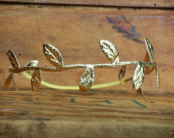 Gold Leaf Halo Heaband or Tieback, photo prop, Newborn, toddler, adult