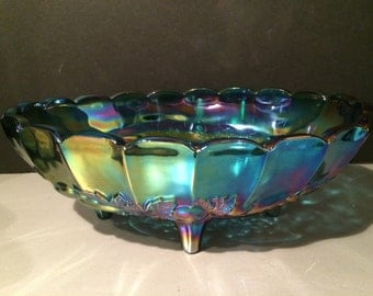 Harvest Blue Iridescent Centerpiece Indiana Glass Co Large Oval Bowl 1940s
