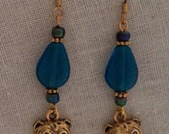 Bulldog Charm GP Earrings -Teal Blue Drop Shape Beads