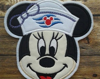 Sailor Miss Mouse Embroidered Applique ~ Iron On No Sew ~ Cruise Patch ~ DCL