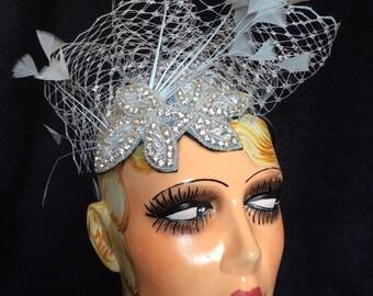 Grey/Silver feather fascinator Chic Swarovski beads Silver Hat Net