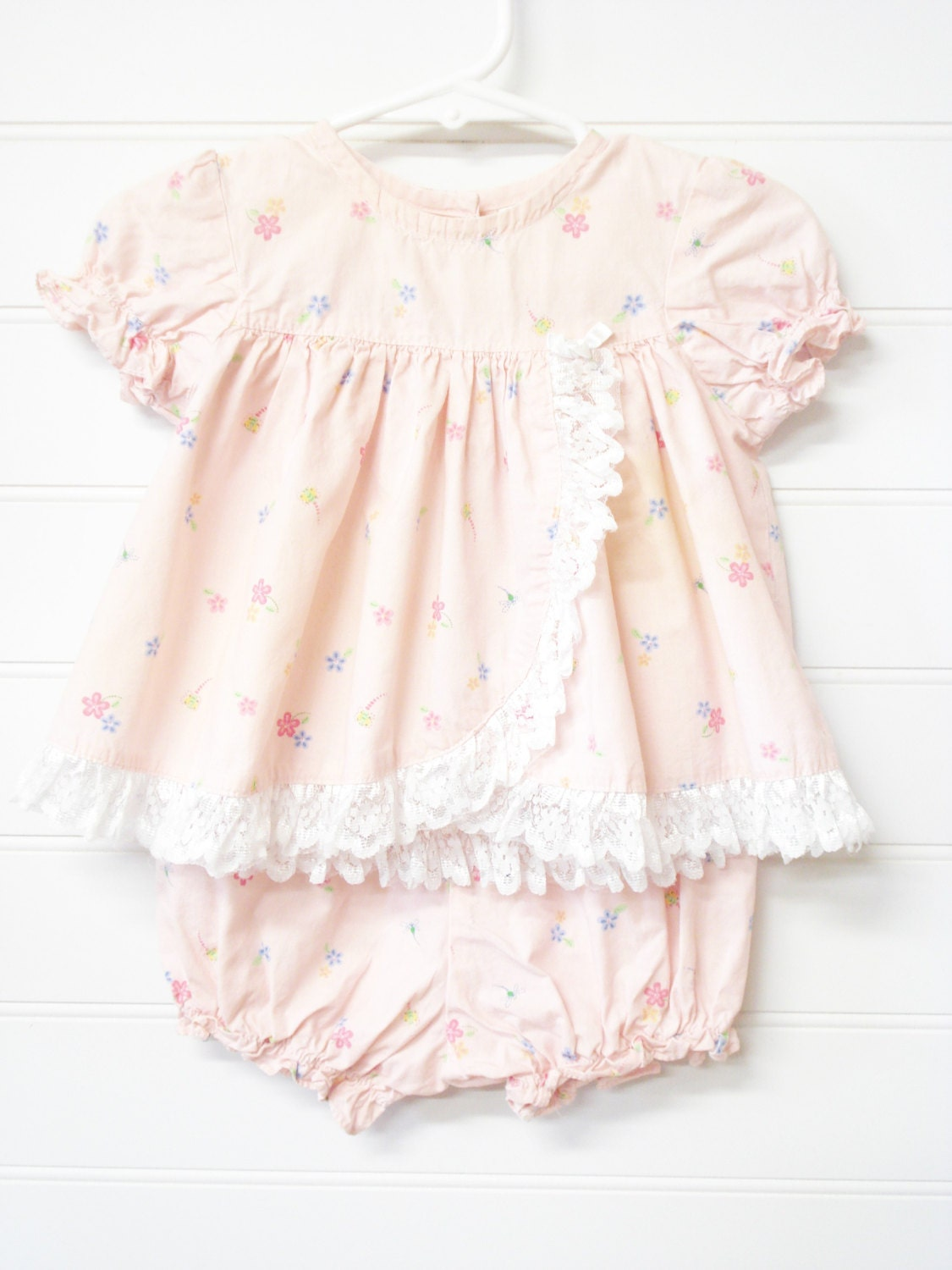 Vintage Baby Clothes Baby Girl Dress Peachy Pink Baby Dress