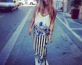Jersey maxi dress / Floral-Striped long dress / Floral-striped summer dress /spaghetti strep dress