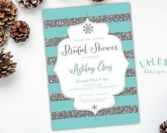 Winter Bridal Shower Invitation, Winter Wonderland Invitation, Winter Shower Invite, Winter Invitation, Snowflake Invitation, DIY Printable