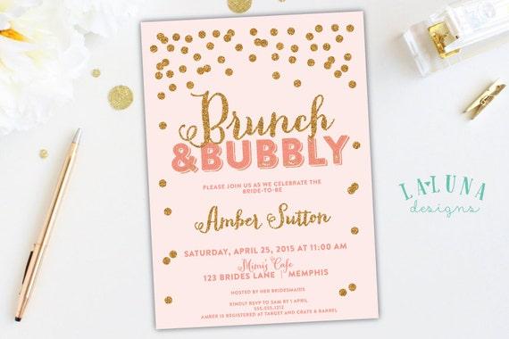 Items Similar To Bridal Shower Invitation Brunch Bubbly Bridal