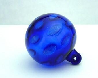 Handblown Cobalt Blue Glass Ornament with Polka Dots