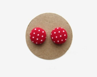 Red with White Dots Stud Earrings // Button Earrings // Fabric Buttons // Polka Dots // Red and White // Red Earrings // southernrusticcharm