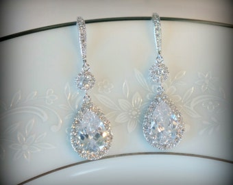 Crystal Bridal Earrings Wedding Earrings Wedding Jewelry for Brides Statement Bridal Earrings Bridal Bridal Jewelry Set Swarovski