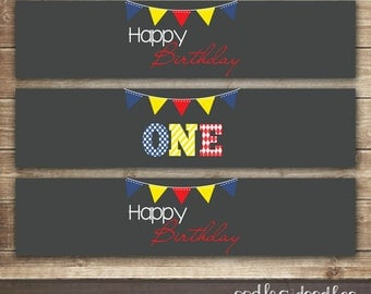 1st Birthday Water Bottle Labels / Boy's First Birthday in Blue, Red & Yellow / Primary Colors, ONE - INSTANT DOWNLOAD - Printable