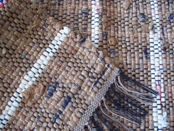 brown rug camping rug loom woven rag rug by grannysrecycledrags. Black Bedroom Furniture Sets. Home Design Ideas