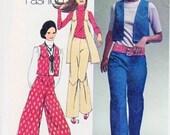 70s RETRO Culottes Gaucho Pants, Wide Leg Hip Hugger Pants Vests Pattern SIMPLICITY 9316 Vest 2 Lengths B 29 Vintage Sewing Pattern UNCUT