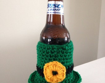SALE St. Patrick's Day Green Top Hat Crochet Beer Cozy