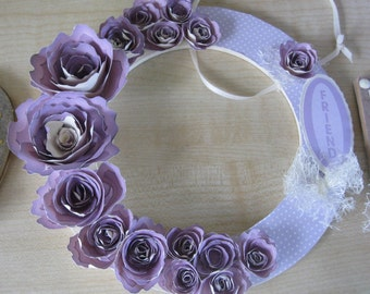 Hand Decorated Mdf Lilac Rose 'Friend' Wreath 15.5cm **Free P&P**