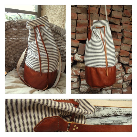 BUCKET STYLE large striped canvas and leather round-bottom bucket purse, bag, sack, beach bag, nautical style, handstitched and natural