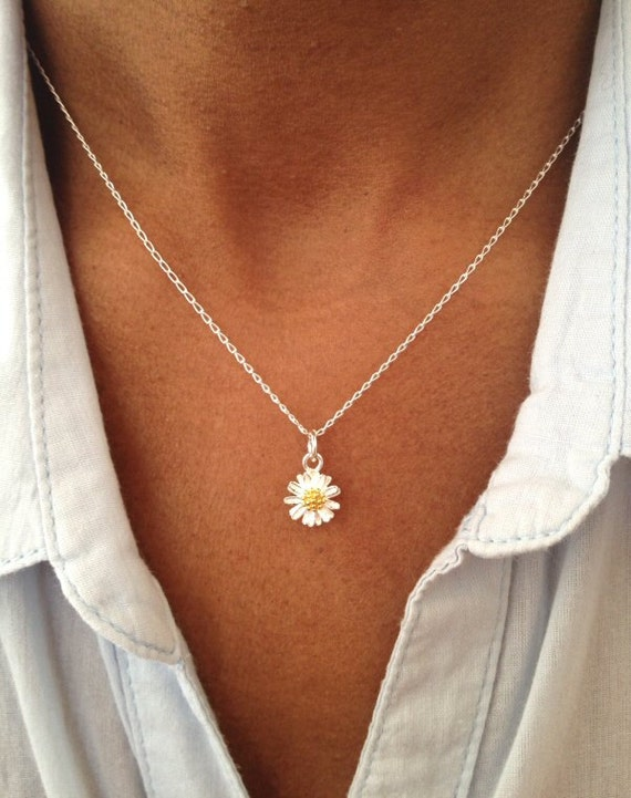 Sterling Silver Daisy Necklace Floral Necklace Floral