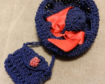 Pin Hand Crochet Hat and Purse 1940's
