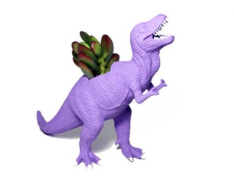 Up-cycled Light Purple T-Rex Dinosaur Planter