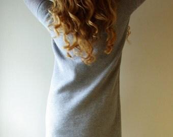 Grey loose fit dress Ripped sleeve dress Long Sleeve knitted dress Mini dress Sweater dress Casual dress