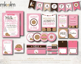 Milk and Cookies Birthday, Personalized Party Kit, Milk and Cookies Invite, Birthday Banner, Cookie Party Decor, Girls Birthday, #54
