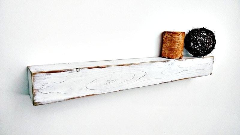 Floating Shelf White Distressed Wood Shelf Hanging Shelf