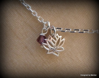 Sterling silver lotus flower anklet, high heel anklet, sandals jewelry, yoga jewelry, birthstone anklet, wedding jewelry