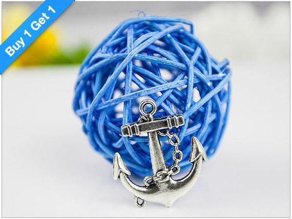 Buy 1 Get 1 FREE - Antique Silver Anchor Charm, Anchor Bracelet Charm, 31x27mm, PKG of 8 pcs, C042.AS11.P08
