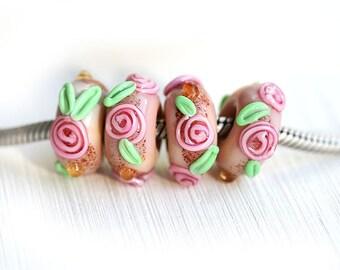Rose bracelet bead, European charm, Shabby chic, Lampwork glass large hole bead, Pink roses, European bracelet,  by MayaHoney