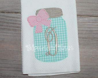 Personalized Mason Jar Kitchen Towels, Mason Jar Towel