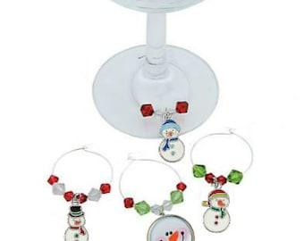 Christmas Wine Charms - Snowman Wine Charms - 4 pack