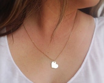 Gold necklace, heart necklace, gold filled heart necklace, gift for girlfriend, 14k gold filled,valentines day gift - 21016