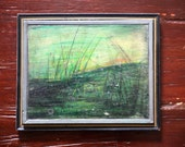 Vintage Abstract Framed Green Landscape Painting on Wood