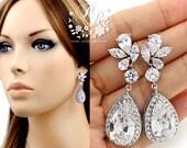 Wedding Earrings Platinum plated Teardrop Zirconia Earrings Wedding Jewely Bridesmaid Earrings Bridal Earrings Wedding Accessory Sasa