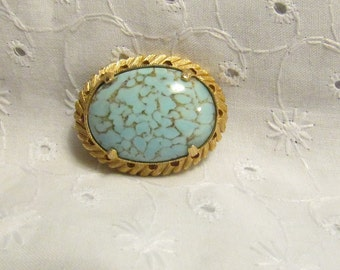 Brooch or Pin, Victorian SteamPunk, Lovely Oval Pin with Pretty Blue Cabochon, Gold Tone Setting ~ BreezyTownship.etsy.com -- BP006