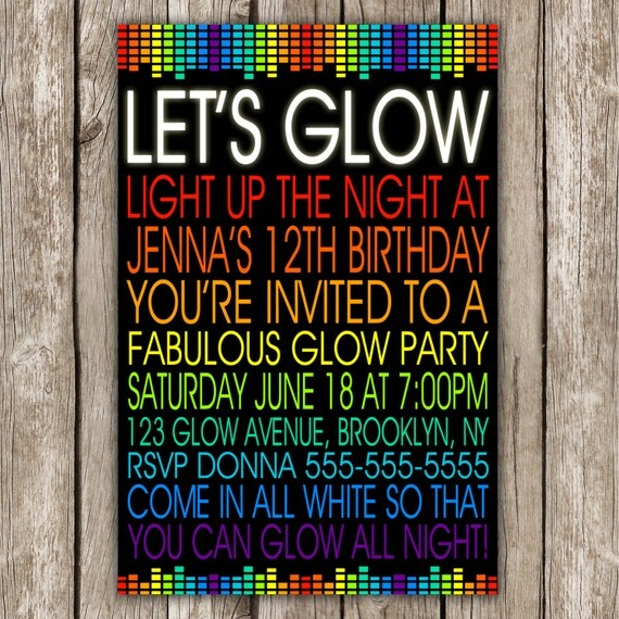 Let's Glow Invitation 80s Birthday Party Neon Party