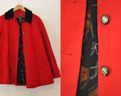 Vintage Red Riding Jacket- Ralph Lauren Red Jacket, Cape Like Coat, Cord Collar, Horse Liner
