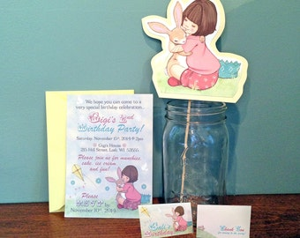Belle & Boo Stationery Package-Invitation, Envelope, Folded Favor Tags for Treat Bag, Cake Topper-Bunny Rabbit Theme Shower, Birthday Party