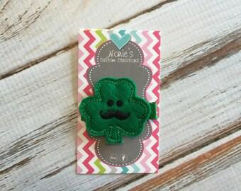 Shamrock Hair Clip - Shamrock Hairclip - Mustache Hair Clip - St. Patrick's Day Hair Clip - St. Patrick's Day - Shamrock Feltie