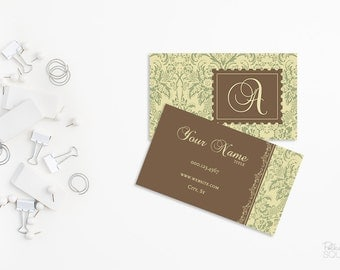 Printable Business card design Custom business card front and back design Damask business card Vintage style Chic business card