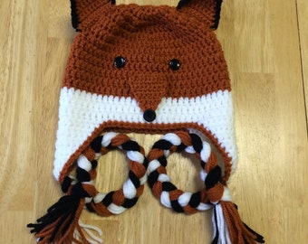 Crochet Fox Earflap Hat -Baby, Toddler, Child, Teen and Adult Sizes. Foxy Hat, Boys or Girls Fox Hat