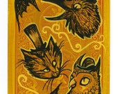 Halloween Friends - Cat Owl and Crow Original Painting on a Playing Card - 2.5 x 3.5