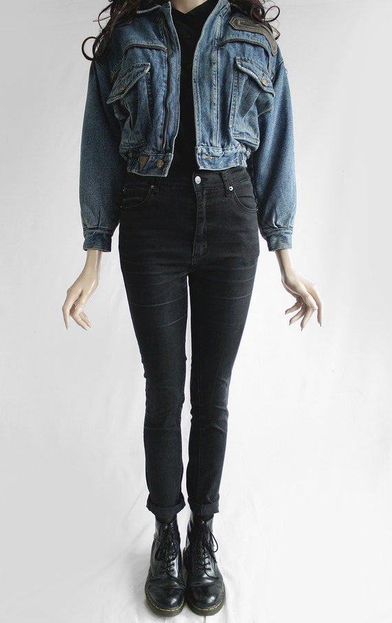 ann es 80 vintage jean bleu denim pais veste pour hommes ou. Black Bedroom Furniture Sets. Home Design Ideas