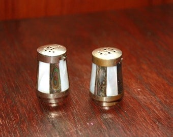 Vintage Mother-of-Pearl Small Salt and Pepper Shakers