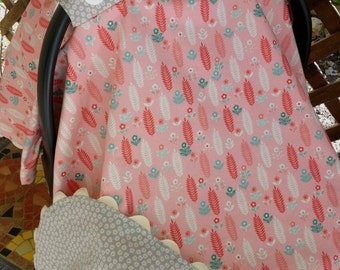 Coral and Teal Carseat Canopy