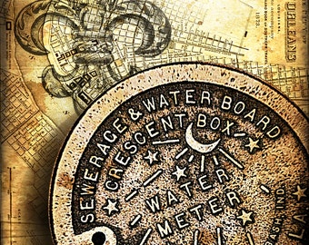 New Orleans Map Art - New Orleans Water Meter Cover Composition - NOLA - Big Easy - Vintage New Orleans Artwork - Old Maps and Prints - Maps
