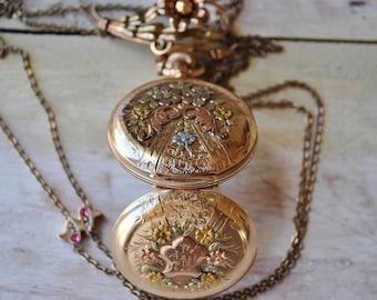 Antique Elgin 14K Gold Pocket Watch/ Amazing multicolored gold watch/ Gold watch/ USA watch/ Gold Watch/ Luxury gift/ Ruby watch