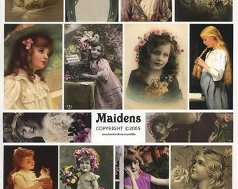 Lovely Maidens Collage Sheet - Mixed Media, Scrapbooking, Decoupage, Arts and Crafts